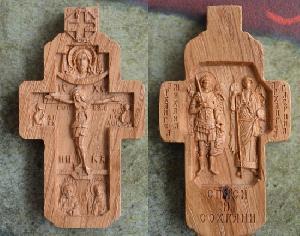 Крестик из дуба , Сергий, Серафим, Спас, Архангелы Михаил и Гавриил
